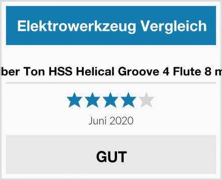 Silber Ton HSS Helical Groove 4 Flute 8 mm Test